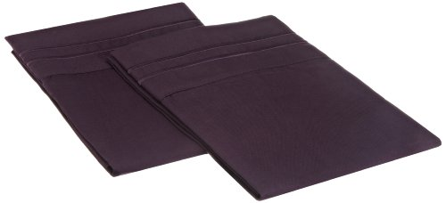 Lamma Loe'S Silky Luxurious Set Supreme Microfiber Embroidered Pillow Cases, Queen/Full/Twin, Eggplant Purple front-591328