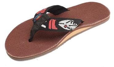 Rainbow Sandals Men's Single Layer Hemp Sandal in Brown with a Nylon Silver Fish Pattern Strap XX-Large US