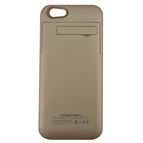 Addao 3200Mah Extended Battery Case Back Up Power Bank For Iphone 6 Back Up + Charging Port + Kick Stand + Slim Fit Slider Design + Full Body Protection + On/Off Switch Led Battery Level Indicator (Gold-1A)