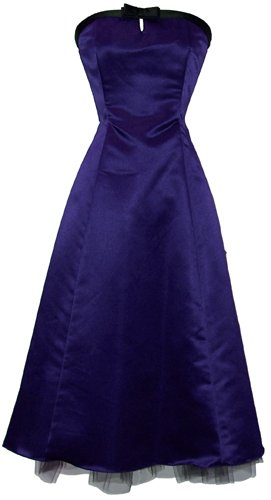 50's Strapless Satin Formal Bridesmaid Gown Holiday Prom Dress, 2X, Royal