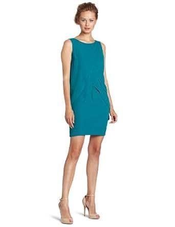 London Times Women's Washed Twill Shift Dress, Atlantis Green, 14