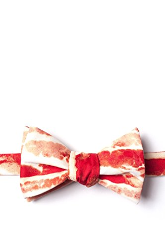 Bacon Forever Red Microfiber Butterfly Bow Tie