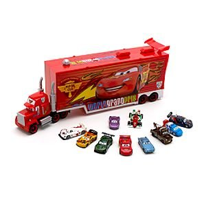 Disney Cars 2 Mack Transporter & 10 Die Cast Cars