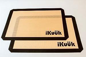 iKuuk (2 pk.) Non-Stick Silicone Baking Half Sheet Mat Set, Premium Pan Liners in Silpat Style. 11.75 x 16.5 inches..