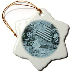Girl and American Flag Vintage Christmas Cyan tone - 3 Inch Snowflake Porcelain Ornament