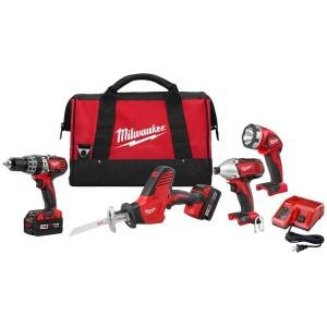 Milwaukee-2695-24-M18-Cordless-Combo-Compact-Hammer-DrillHackzall14-Hex-Impact-DriverWork-LightCharger2-Battery