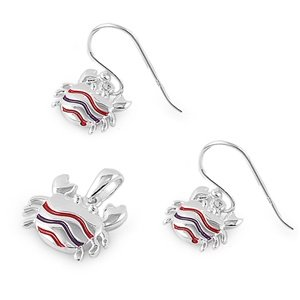 Sterling Silver Fancy Triple Stripe Crab Earring & Necklace Set