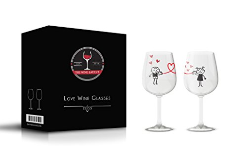 The Wine Savant Large Love Wine Glasses Set of 2, His and Hers Matching Couple Wine Glasses, Personalized Gift Ideas For Women and Men, Birthday, Anniversary Or Any Day (Love Glasses)
