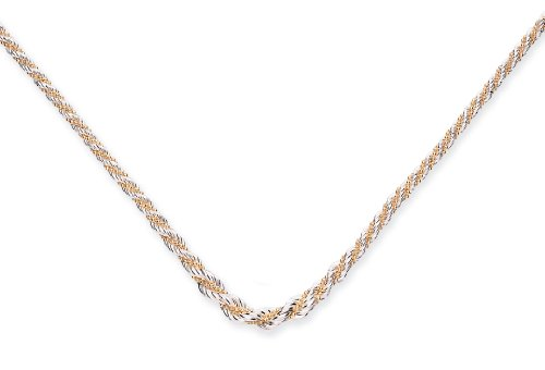 Goldmajor Sterling Silver Hollow Rope Necklace with Gold Plated Bead Plait of 44cm + 6cm extender