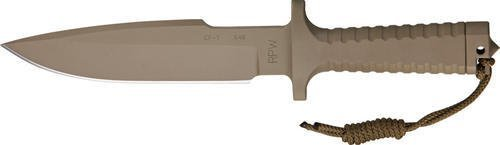 Rpw X46Ir7 Large Standard Edge Bowie Model X-46 Utility Survival Fixed Blade Knife With Tan Pommel & Tan Cerakote Finish Fluted Oval Hollow Handles