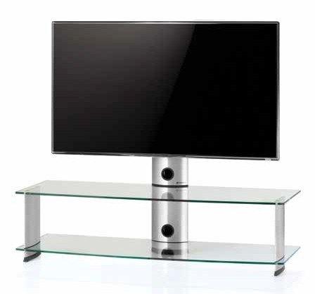 SONOROUS PL2000 TG - Mobile per TV, con 2 ripiani e 140 cms ancho. Vetro trasparente. Telaio: Grigio.