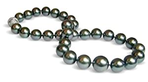 13 x 16mm black green Tahitian south sea cultured pearl necklace 18