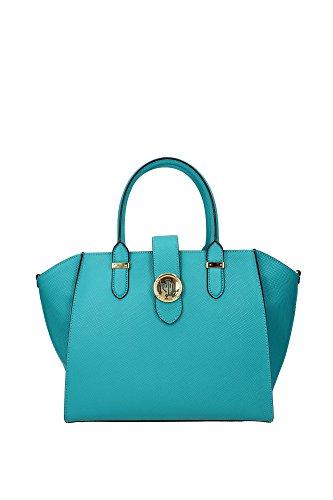 Borse Shopping Ralph Lauren Donna Pelle Verde Acqua e Oro L6941RL549A4L4V Verde 12x24x29 cm