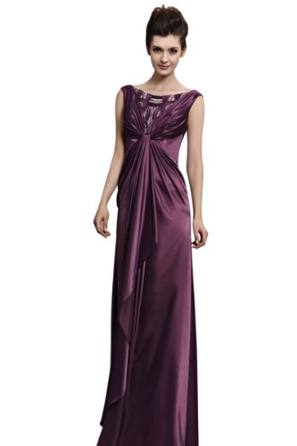 CharliesBridal Bateau Neck Floor Length Evening Gown - L - Purple
