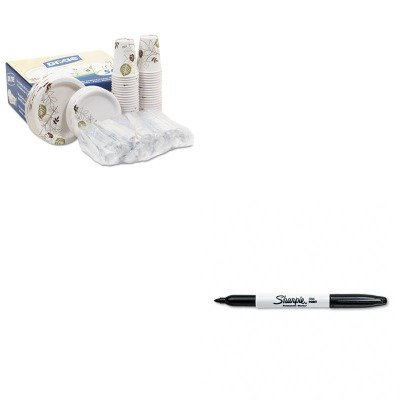 KITDXEDXCOMBO50SAN30001 - Value Kit - Dixie Dinnerware Party Pack (DXEDXCOMBO50) and Sharpie Permanent Marker (SAN30001) kitaapbr102gycox01761ea value kit best hospitality base cabinet aapbr102gy and clorox disinfecting wipes cox01761ea
