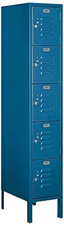 Salsbury Industries 65158BL-U Five Tier Box Style 1-Inch Wide 5-Feet High 18-Inch Deep Unassembled Standard Metal Locker, Blue