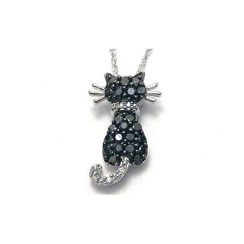 Black & White Diamond Kitty Cat Necklace white gold