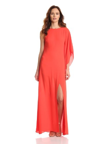 BCBGMAXAZRIA Women's Janus Woven Evening Dress, Poinsettia, 8