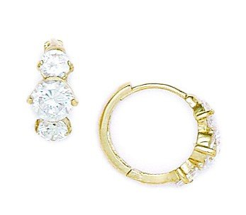 14ct Yellow Gold CZ Fancy Hinged Earrings - Measures 12x15mm