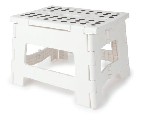 Kikkerland Rhino Easy Fold Step Stool, Short, White
