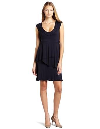(淡雅)D.E.P.T.Knitted Flowy Jersey女式荷叶裙摆连衣裙$49.98,原129,码全