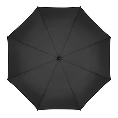 Plemo Regenschirm, Stockschirm Partnerschirm Übergroß Schirm Klassischen Schwarz (125 cm Durchmesser) -