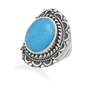 Turquoise Sterling Silver Triple Rope and Arch Design Ring