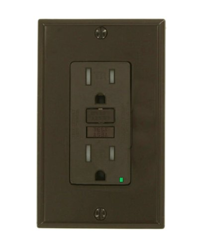 Leviton X7599 Smartlockpro Slim Gfci Tamper-Resistant Receptacle With Led Indicator, 15-Amp, Brown