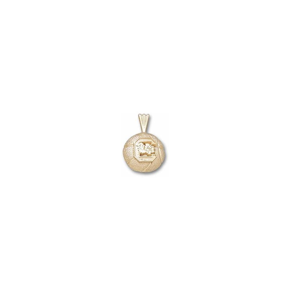 South Carolina Gamecocks C Basketball Pendant   10KT Gold Jewelry