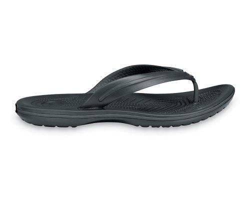 Crocs Crocband Flip Schuhe, Badeschuhe. Sommer Sandalen im Retro Stil mit Komfort. Graphite. Gr. 45-46