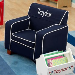 PERSONALIZED Blue Toddler\'s Laguna Chair - Font: Block, Font Color: White