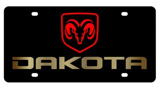 Dodge Dakota License Plate on Black Steel (Dodge Dakota License Plate Frame compare prices)