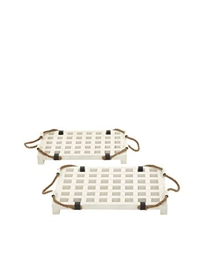 Set of 2 Trays With Wood Rope