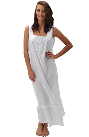 Del Rossa Women's Patricia 100% Cotton Long Victorian Sleeveless Nightgown, Small White (A0526WHTSM)