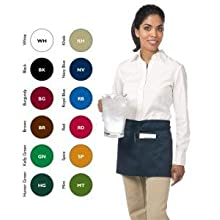"San Jamar 605WAFH Poly Cotton ""Front of the House"" Waist Apron, 23"" Length x 12"" Width, Navy Blue"