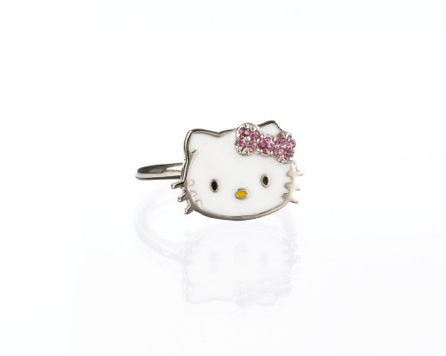 "Hello Kitty Sterling Silver ""Just Kitty"" Pink Tourmaline & Diamond Accent"