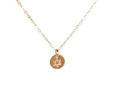 Star of David Necklace - Tiny Gold Filled Disc Pendant Great Bat Mitzvah Gift - Simple Star of David