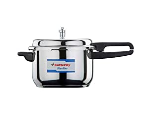 Butterfly BL-4.5L Blue Line Wider Stainless Steel Pressure Cooker, 4.5-Liter by Gandhi - Appliances