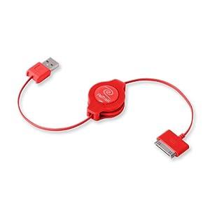ReTrak Retractable iPod/iPhone/iPad USB Cable, Red (ETIPODUSBRED)