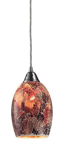 Landmark 73031-1 Avalon 1-Light Pendant, 5-Inch, Satin Nickel with Earth Tone Glass