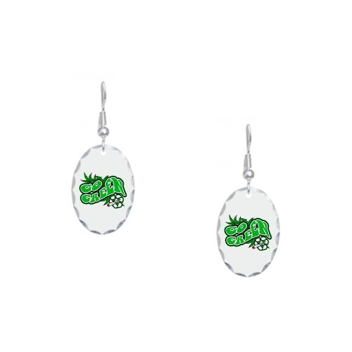Earring Oval Charm Marijuana Go Green