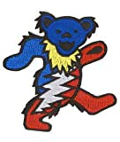 Grateful Dead – Lightening Dancing Bear – Embroidered Iron on Patch, Bags Central