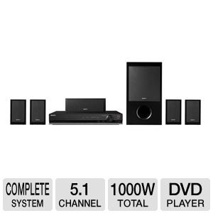 Sony Bravia 1000 Watt 5.1 Channel Surround Sound DVD Home Theater System With DVD Upscaling To Near HD Picture Quality Via HDMI, BRAVIA Sync Controls Compatible Devices With One Remote, Digital Cinema Audio Calibration For Quick Speaker Set-Up, Easy Set-up Disc Is Included To Guide You Through The Set-Up Process, Smart Remote Control Multiple Format Disc Playback, iPod Compatibility And Connectivity, Rip Your CDs To Your USB Drive, Plus 6ft HDMI Cable