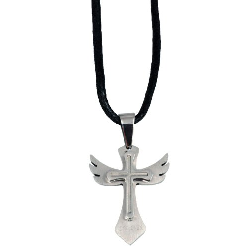 Forgiven Jewelry - Wing Cross - Silver Stainless Steel (Not Engraved)