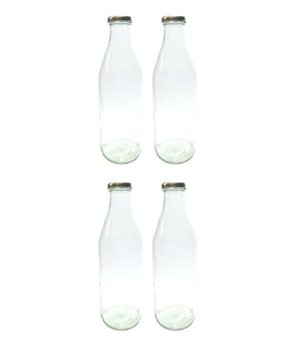 Favola Milk And Juice Glass Bottle With Air Tight Cap - 1000 Ml (Set Of 4) - Transparent - CFAVCOLBOT081
