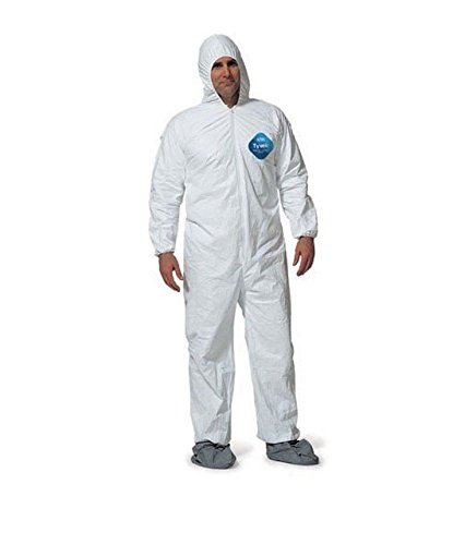 DuPont TY122S Disposable Elastic Wrist, Bootie & Hood White Tyvek Coverall Suit 1414, Size Large, Sold by the Each
