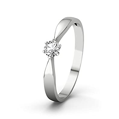 21DIAMONDS Women Ring - Engagement Ring Brilliant Cut White Topaz 14 carat (585) White Gold Engagement Ring