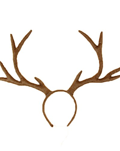 Wind Girl Plush Reindeer Antlers Headband Sika Deer Head Band (one size, Coffee)