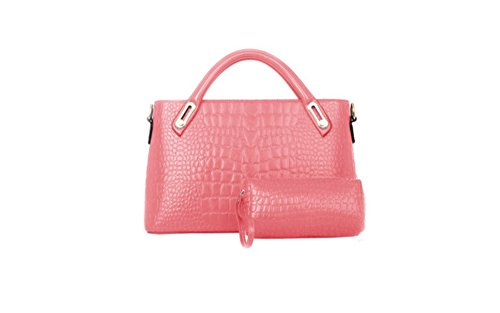 Mivor Womens Pu Faux Leather 2 Large Compartment Magnetic Snap Purse (Pink)