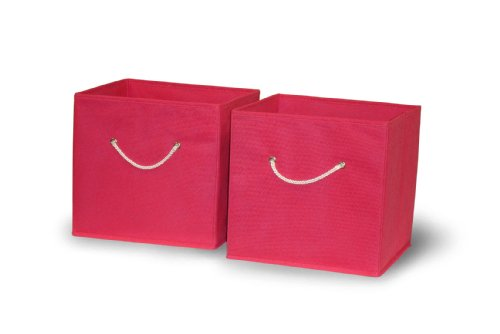Cheap Sourcing Solutions 2-Piece Folding Storage Bins Set, Hot Pink with White Rope Handles